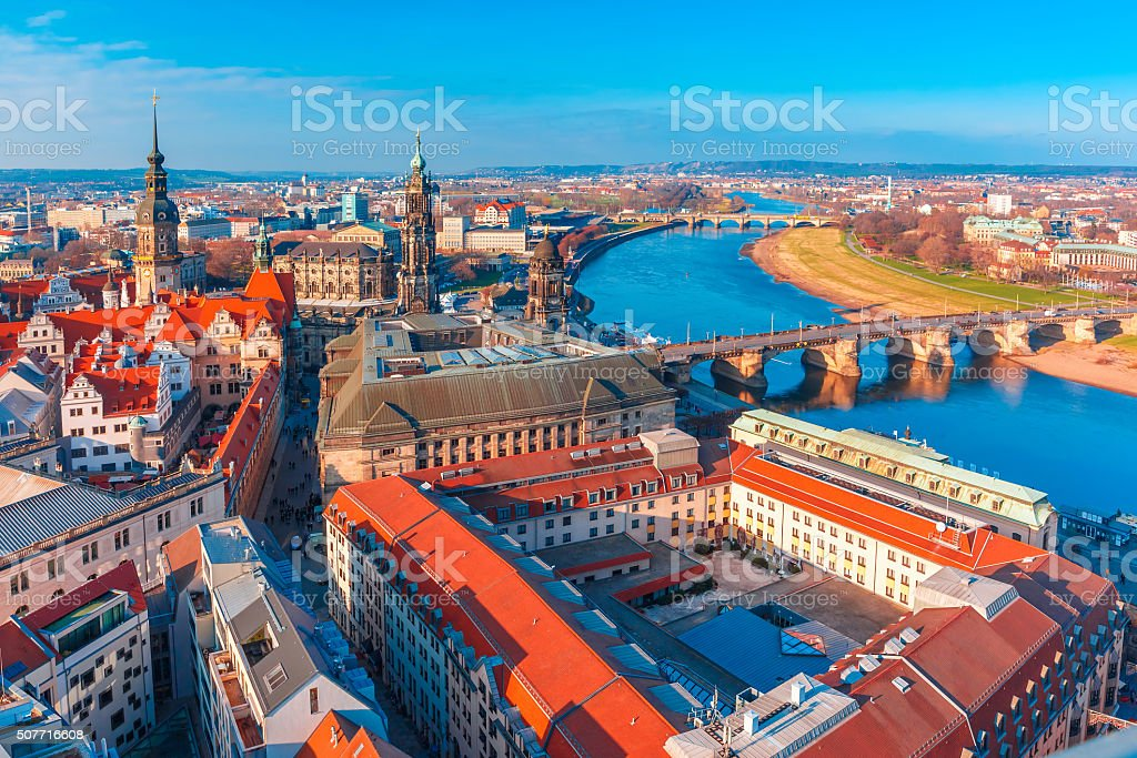 Aerial view of Old town and Elbe, Dresden, Germany stock photo