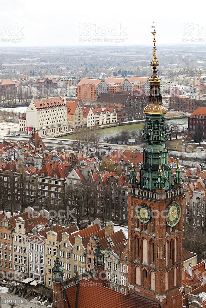 Aerial view of old town in Gdansk. royalty-free stock photo