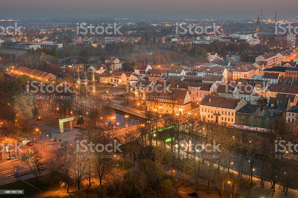 Aerial view of Old Town in Klaipeda, Lithuania stock photo