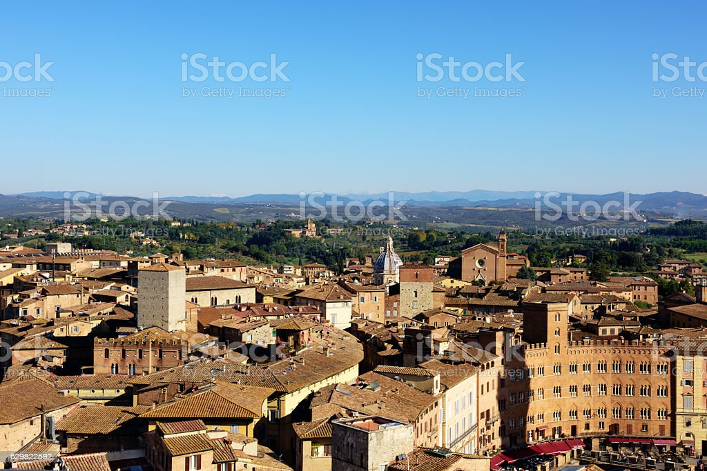 Aerial view of  old town, Siena, Tuscany stock photo