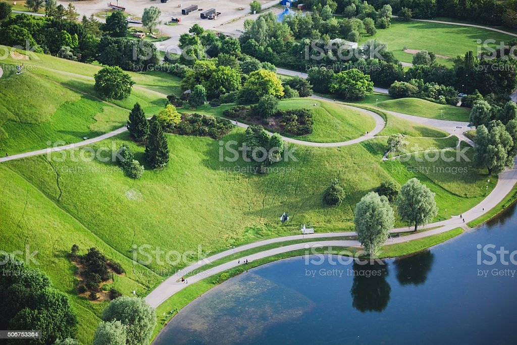Aerial view of Olympiapark and Munich from Olympic Tower stock photo