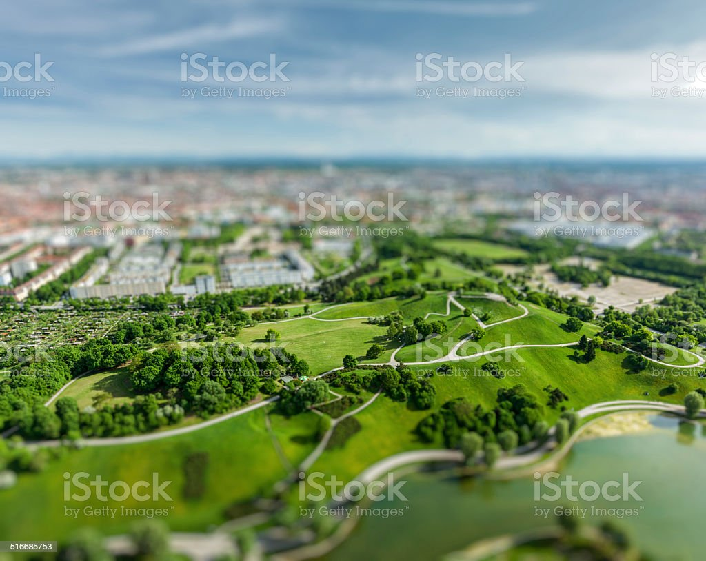 Aerial view of Olympiapark, Munich, Germany stock photo