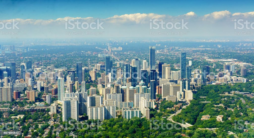 aerial view of Ontario canada in summer stock photo