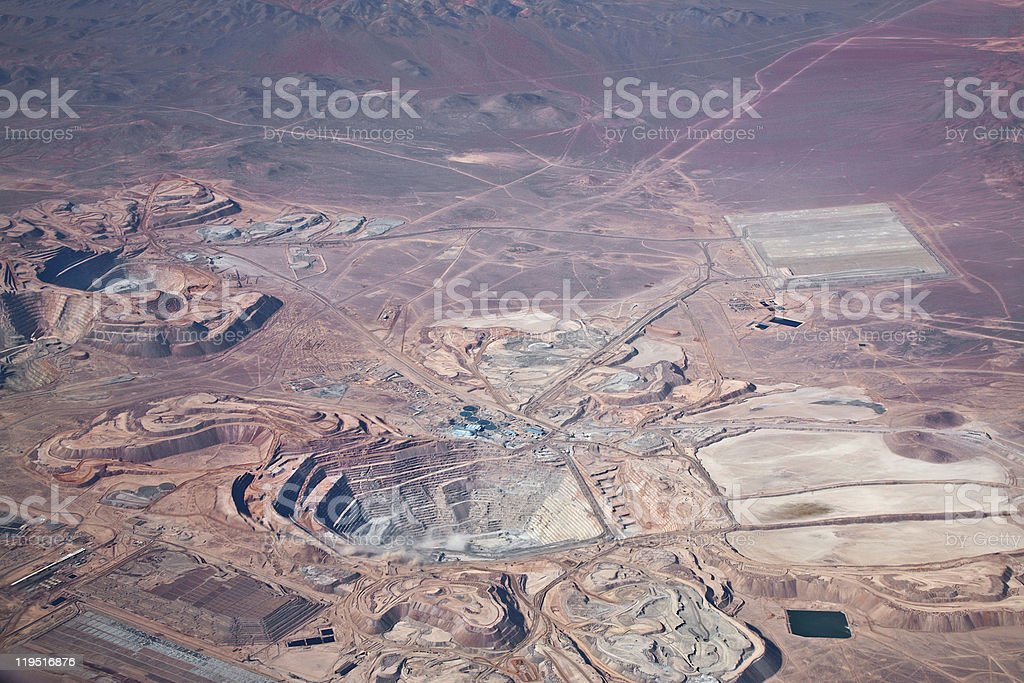 aerial view of open-pit copper mine in Atacama desert, Chile stock photo