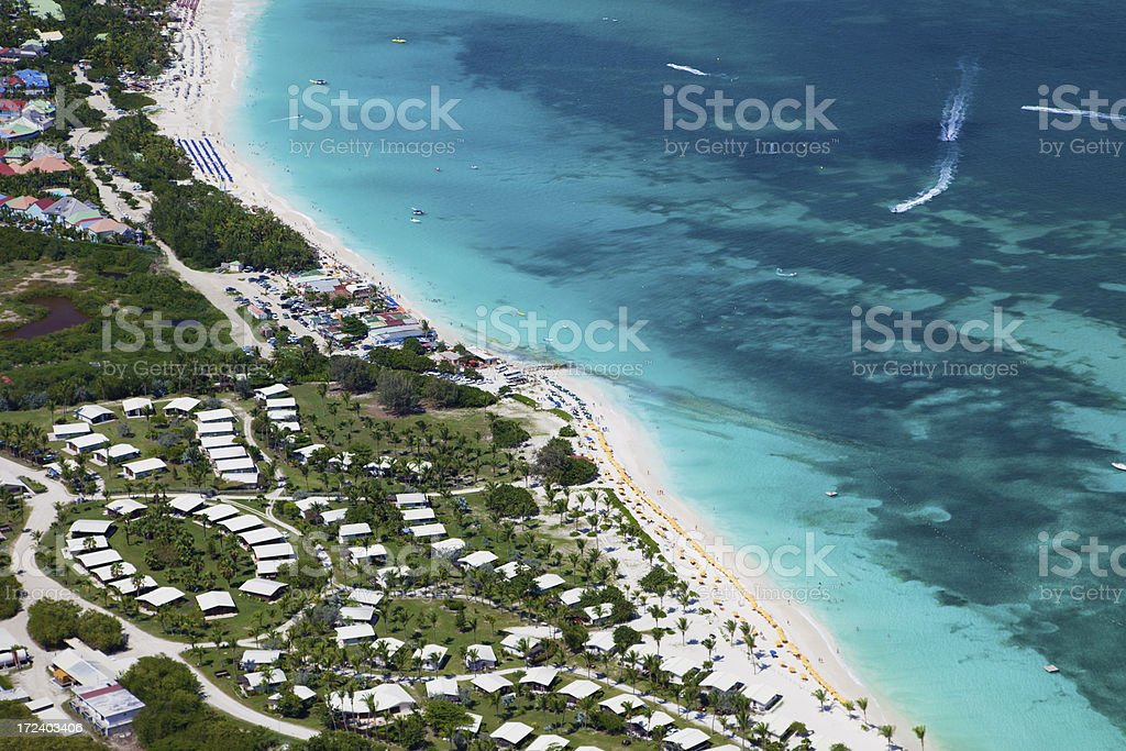 aerial view of Orient Bay in St.Martin, French West Indies royalty-free stock photo
