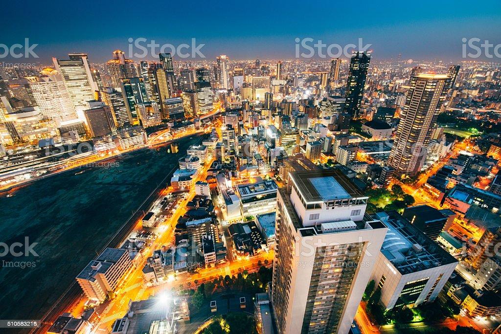 Aerial view of Osaka Skyline stock photo