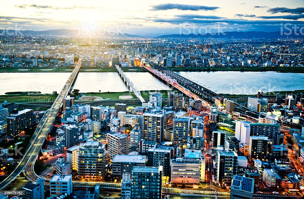 Aerial view of Osaka Skyline stock photo