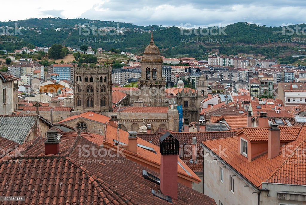 Aerial view of Ourense city in Galicia (Spain) stock photo
