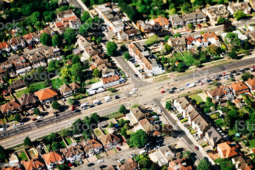 Aerial view of outer London, residential area, crossroads stock photo