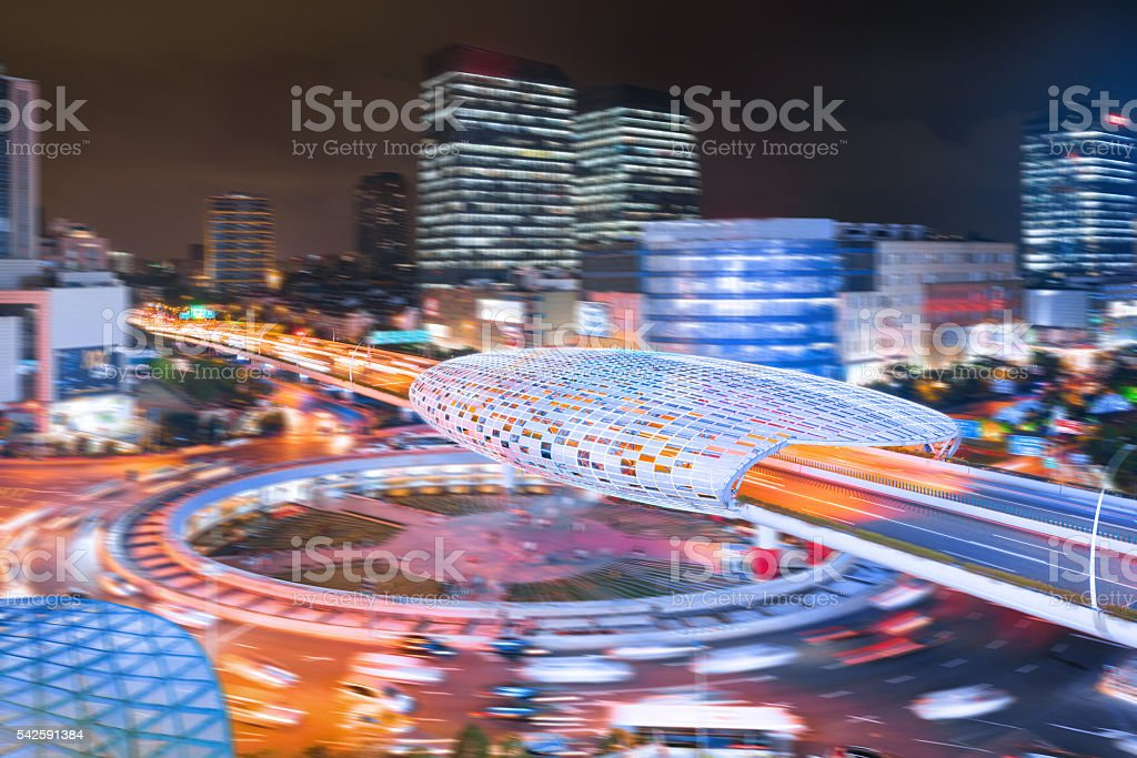 Aerial view of overpass at night, Shanghai, China stock photo