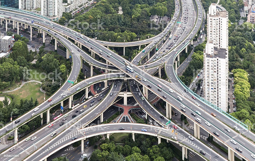 Aerial View of Overpass in Modern City Like Shanghai stock photo