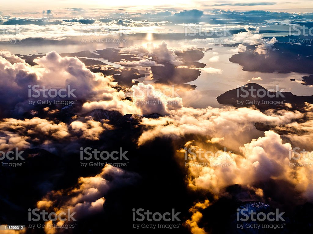 Aerial view of pacific coast in BC, Canada royalty-free stock photo