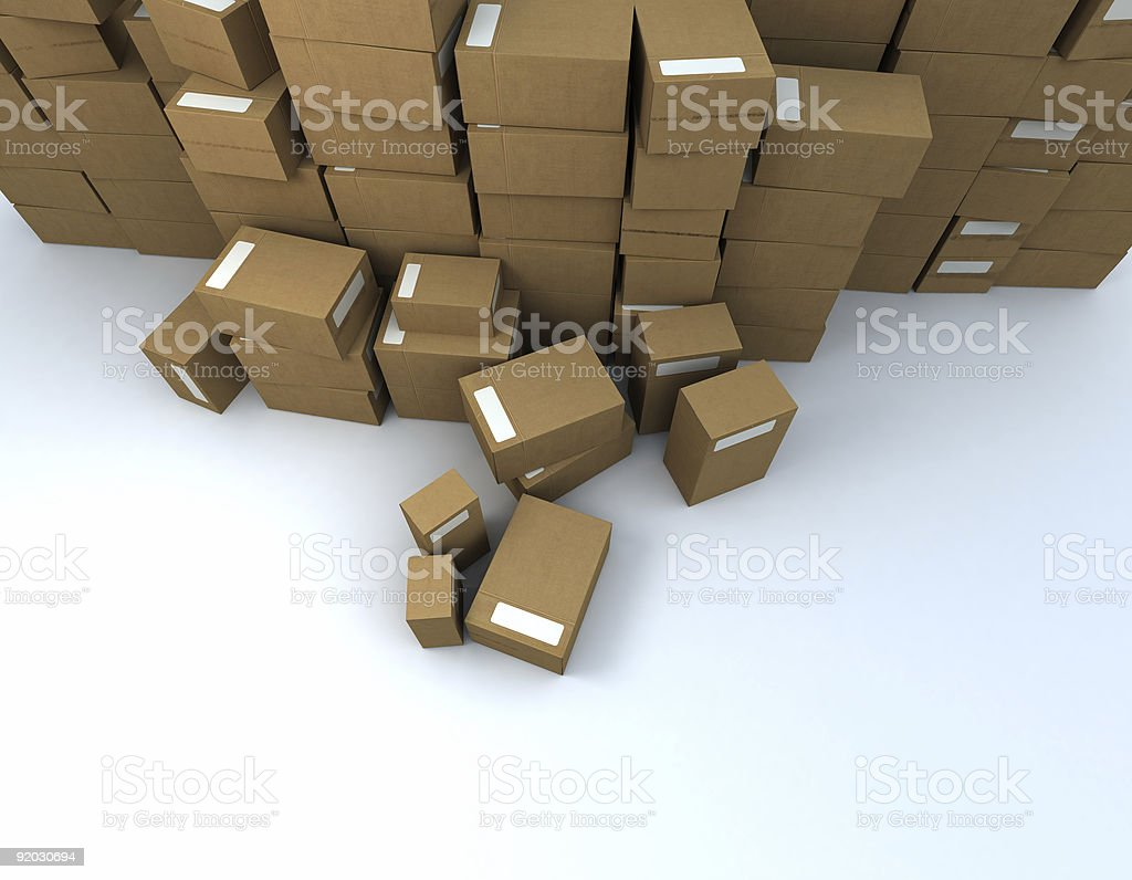 aerial view of packages heap stock photo