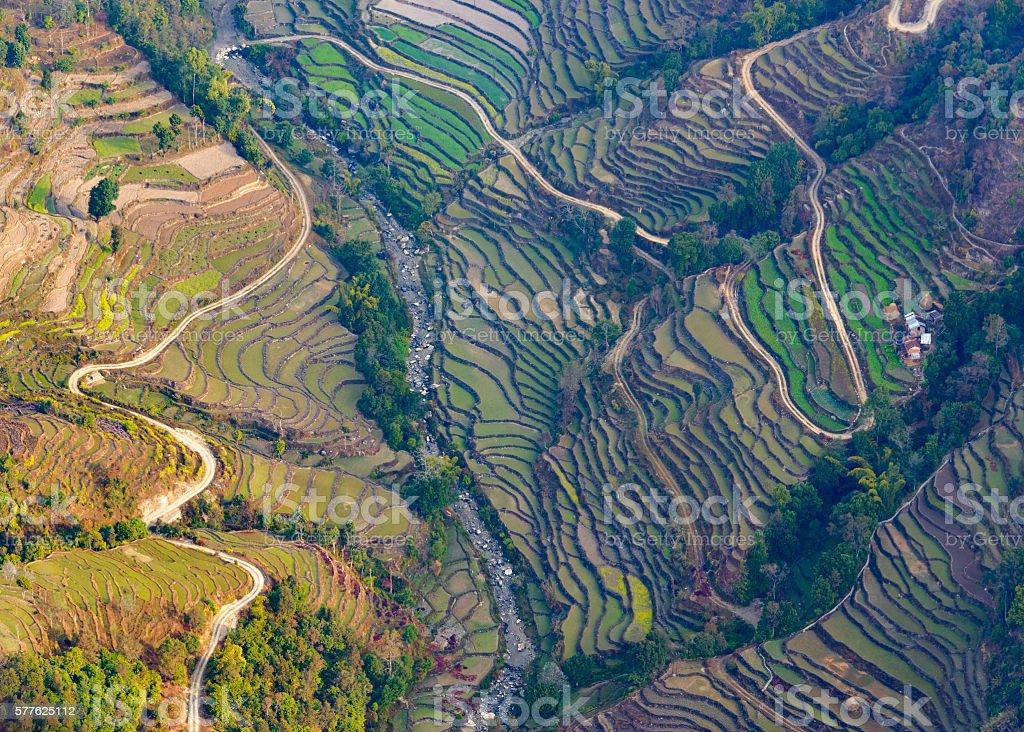Aerial view of paddy fields near Pokhara stock photo