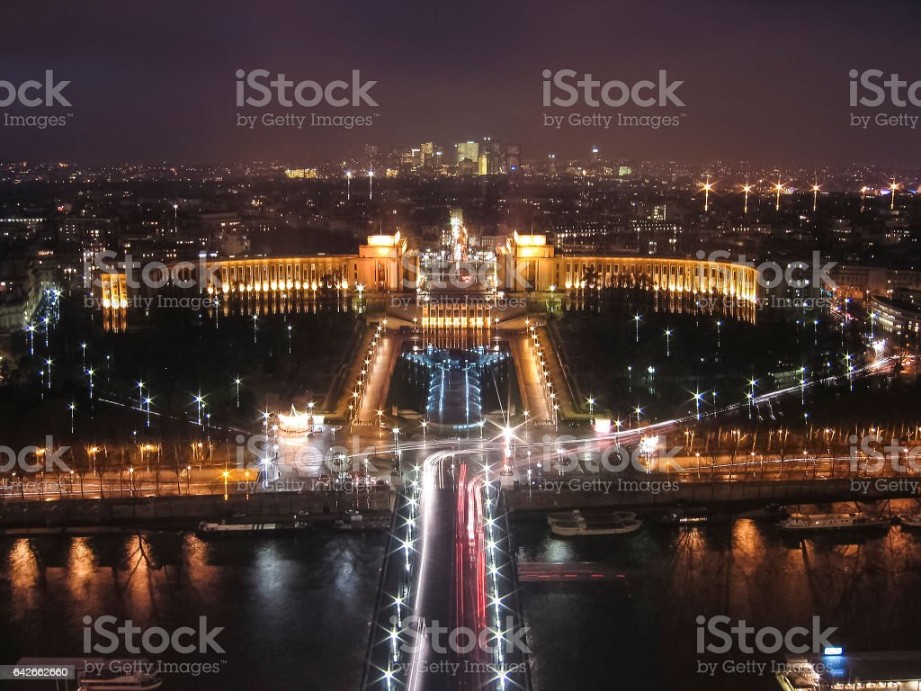 Aerial view of Palais de Chaillot palace from Eiffel Tower stock photo