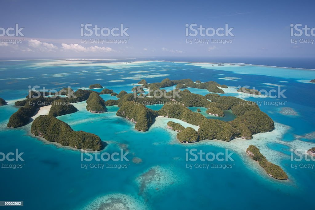 Aerial view of Palaus Seventh Islands stock photo