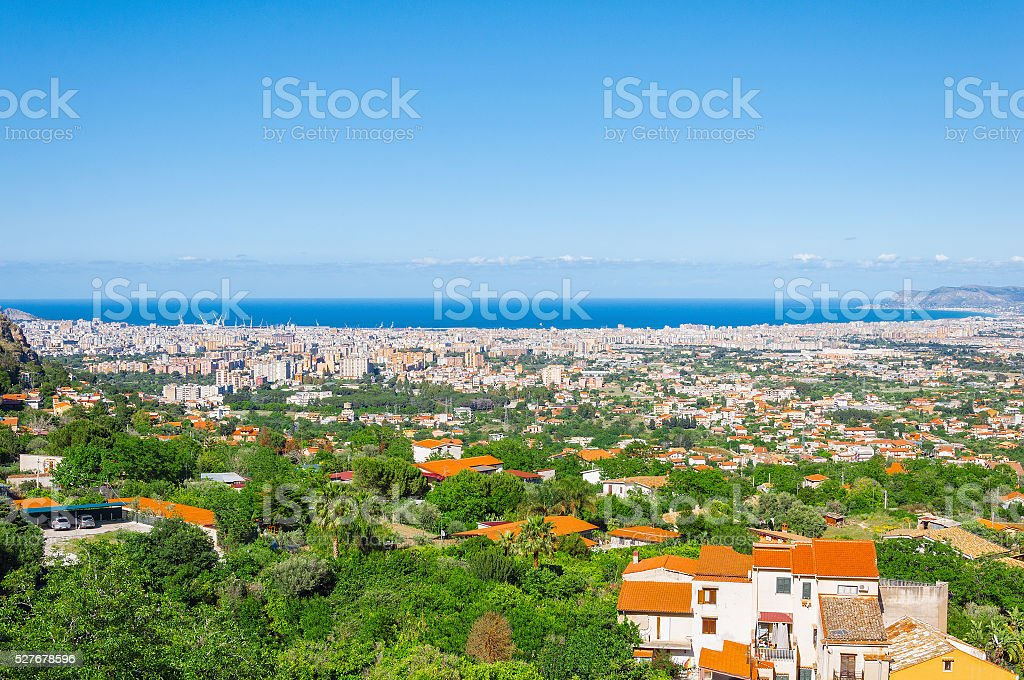 Aerial view of Palermo from Monreale. stock photo