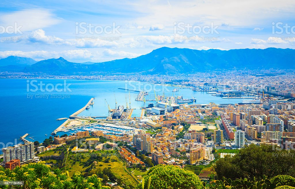 Aerial view of Palermo stock photo