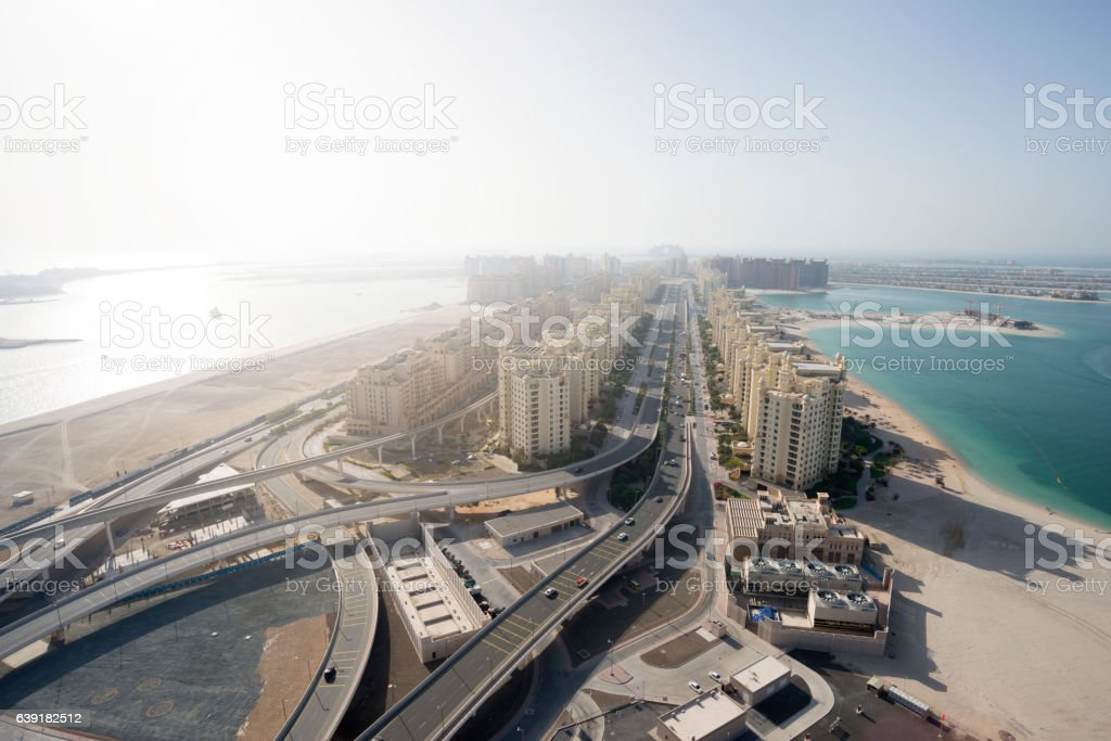 Aerial View of Palm Island in Dubai, stock photo