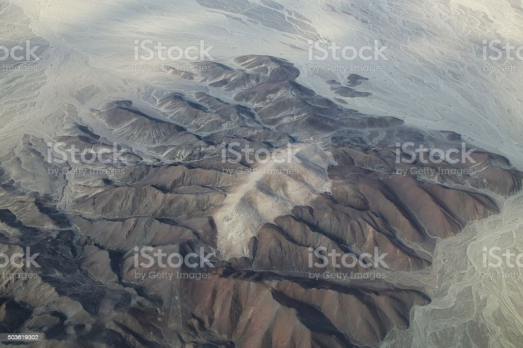 Aerial view of Pampas de Jumana near Nazca, Peru. stock photo