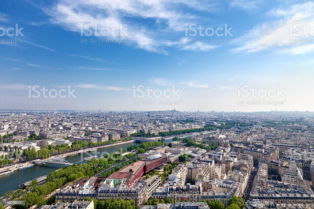 Aerial view of Paris architecture from the Eiffel tower. stock photo
