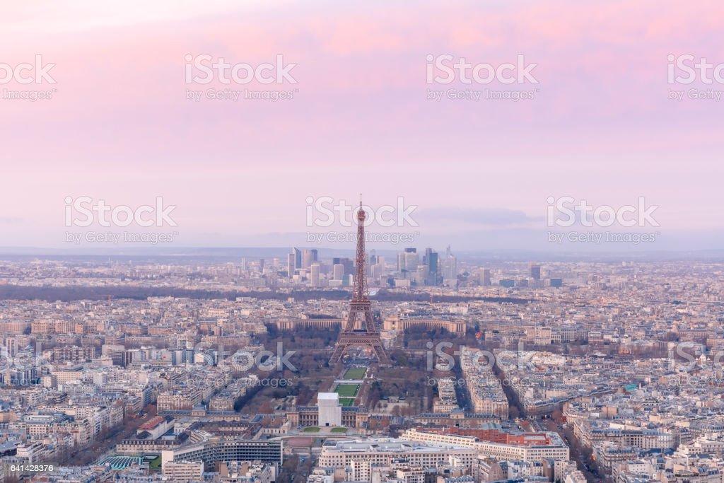 Aerial view of Paris at sundown, France stock photo