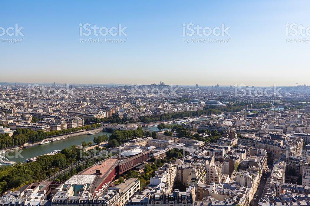 Aerial view of Paris city stock photo