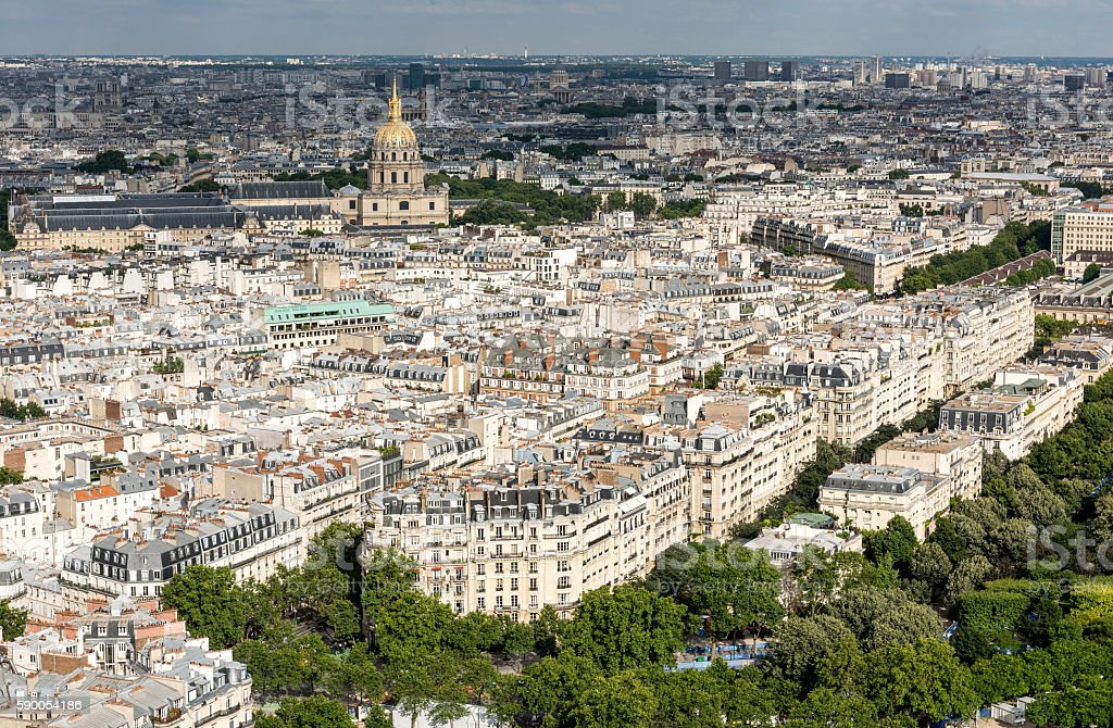 Aerial view of Paris city with Les Invalides building stock photo