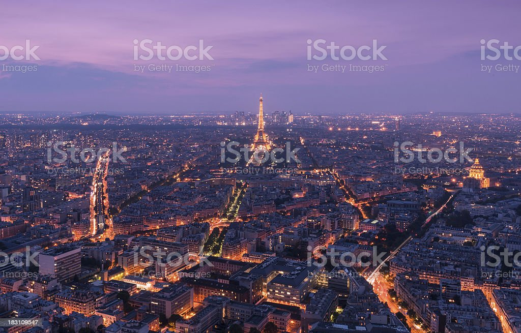 Aerial View of Paris, France from Tour Montparnasse at Dusk stock photo
