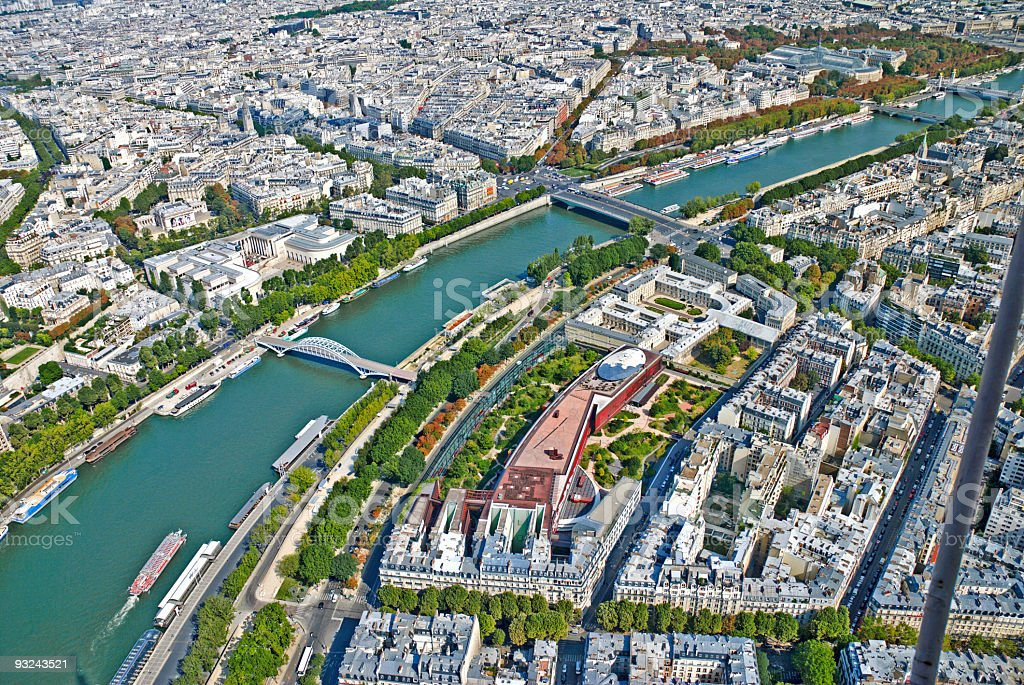 Aerial view of Paris from Eiffel Tower royalty-free stock photo