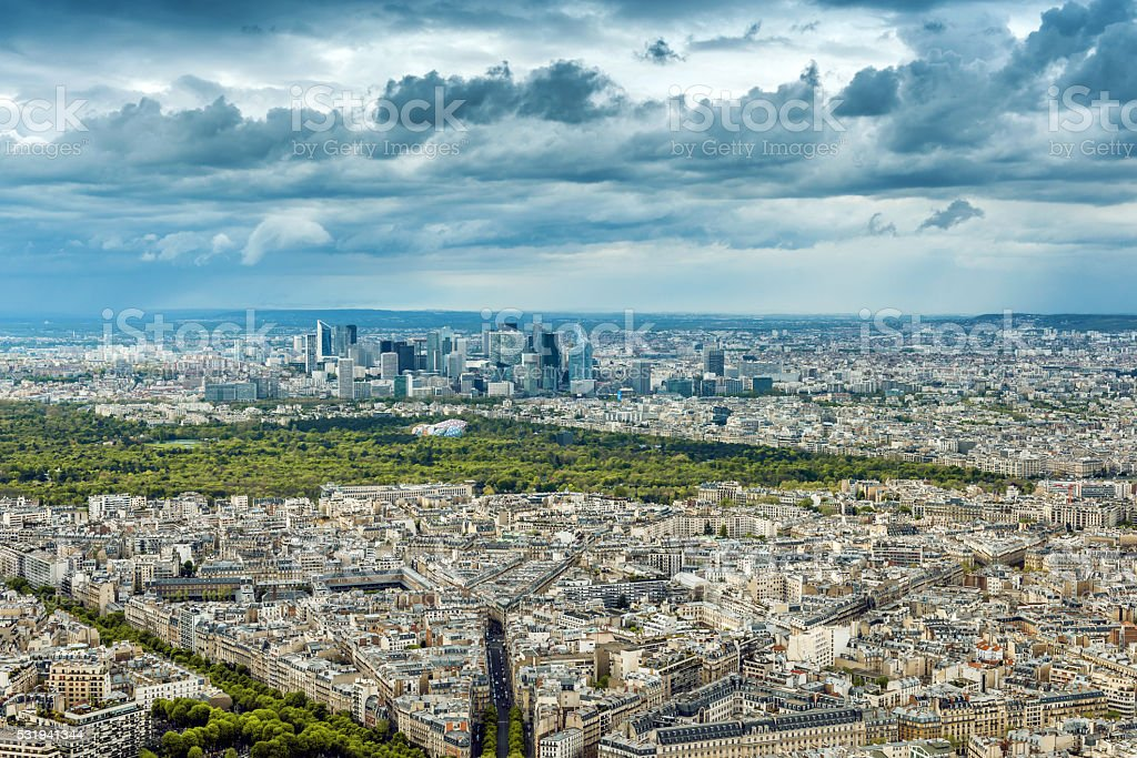 Aerial view of Paris from Eiffel Tower,Paris,France stock photo