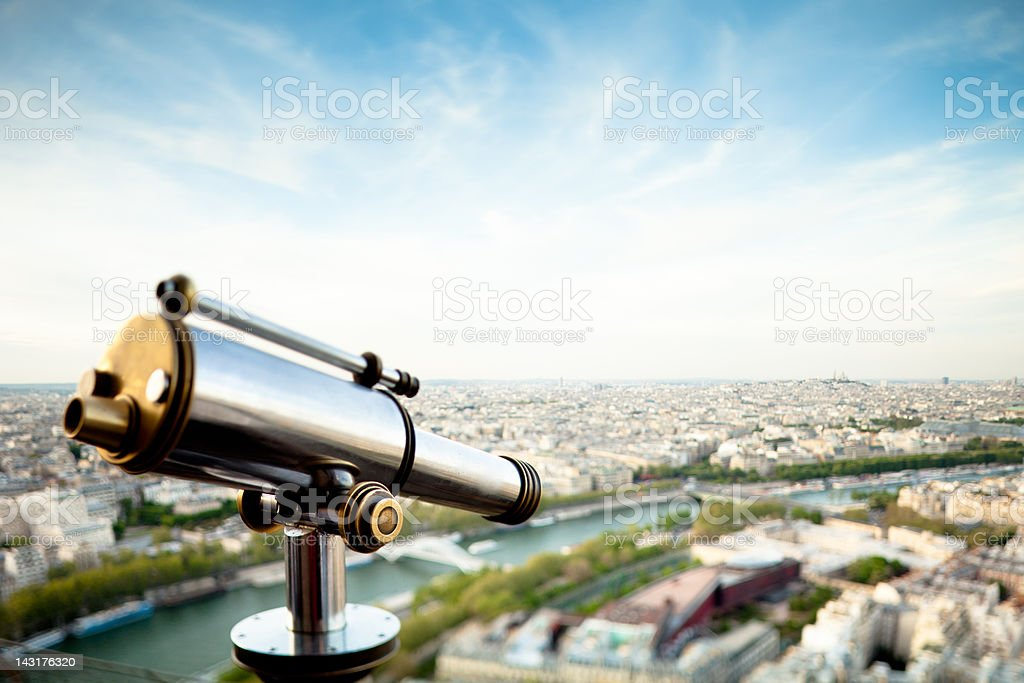 Aerial view of Paris from the Eiffel Tower with telescope stock photo