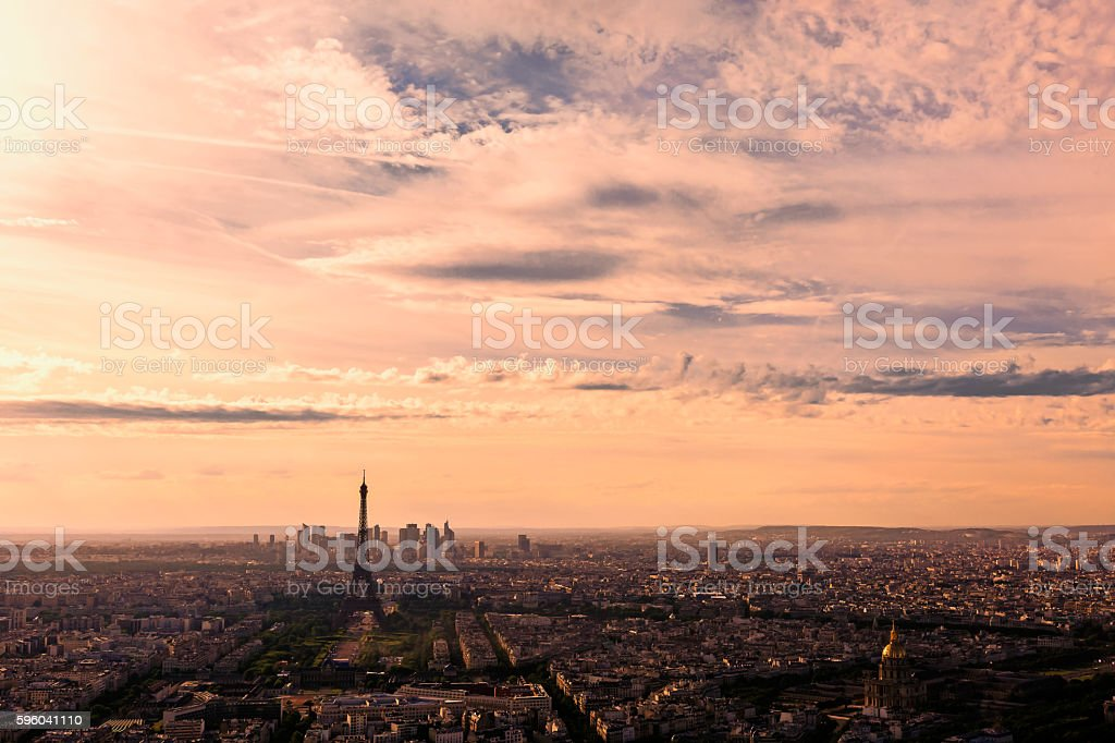 aerial view of paris in sunset glow stock photo