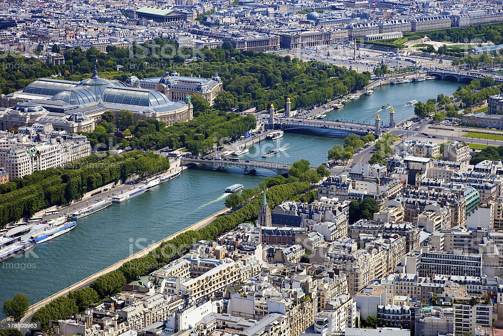 Aerial view of Paris royalty-free stock photo