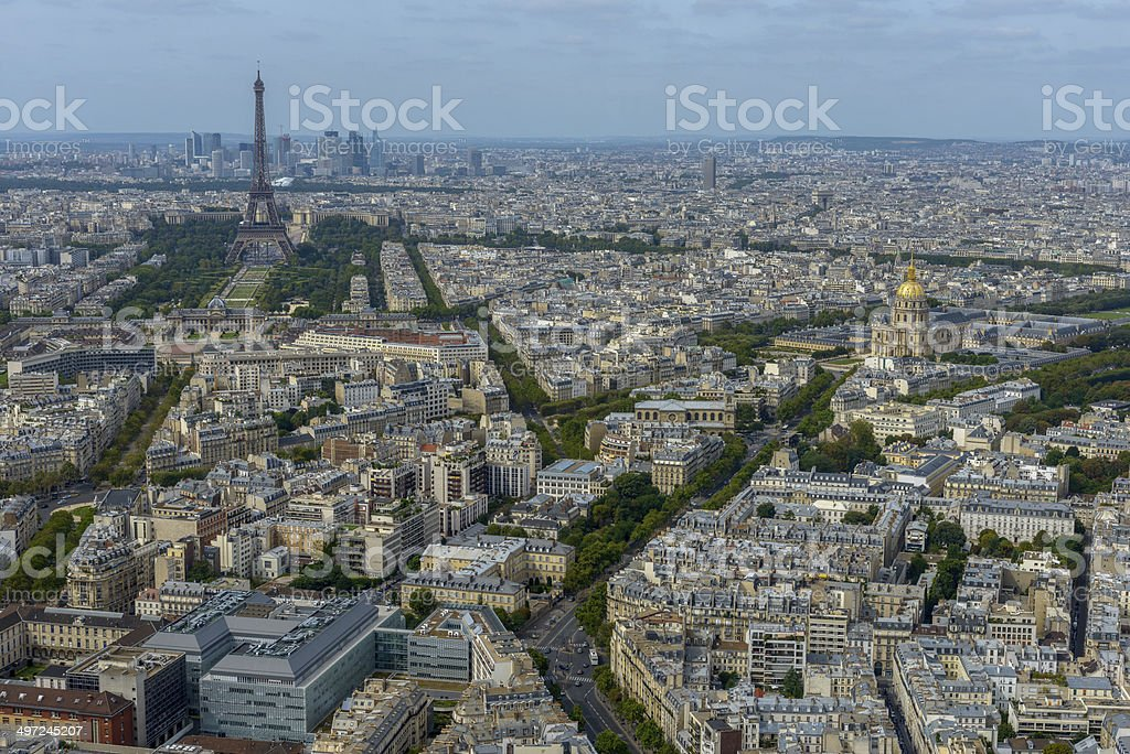 Aerial view of Paris taken from Montparnasse Tower stock photo