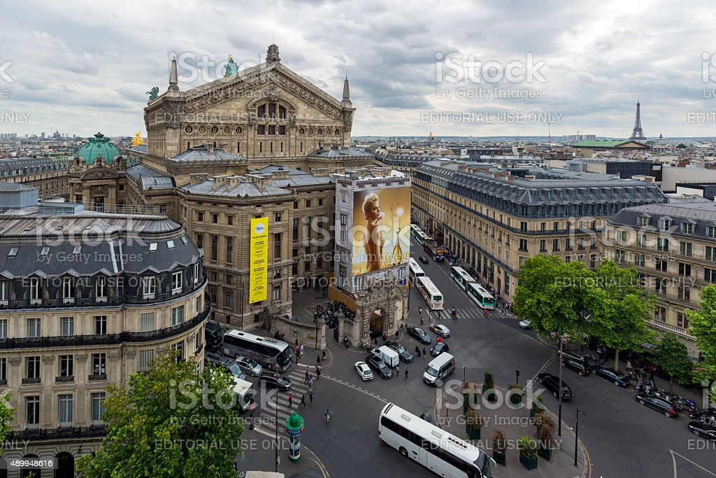 Aerial view of Paris with opera building stock photo