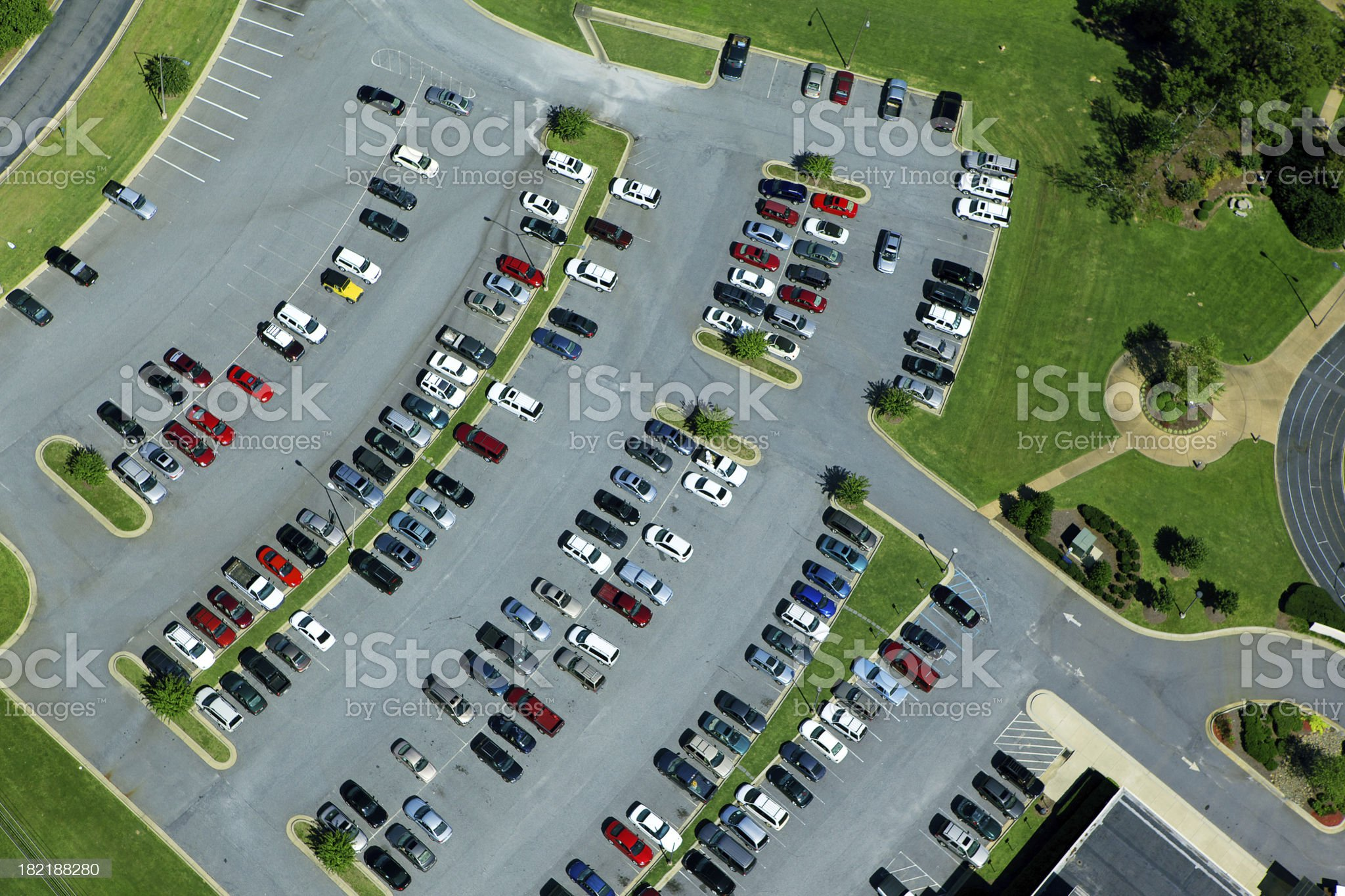 Aerial View of Parking Lot royalty-free stock photo