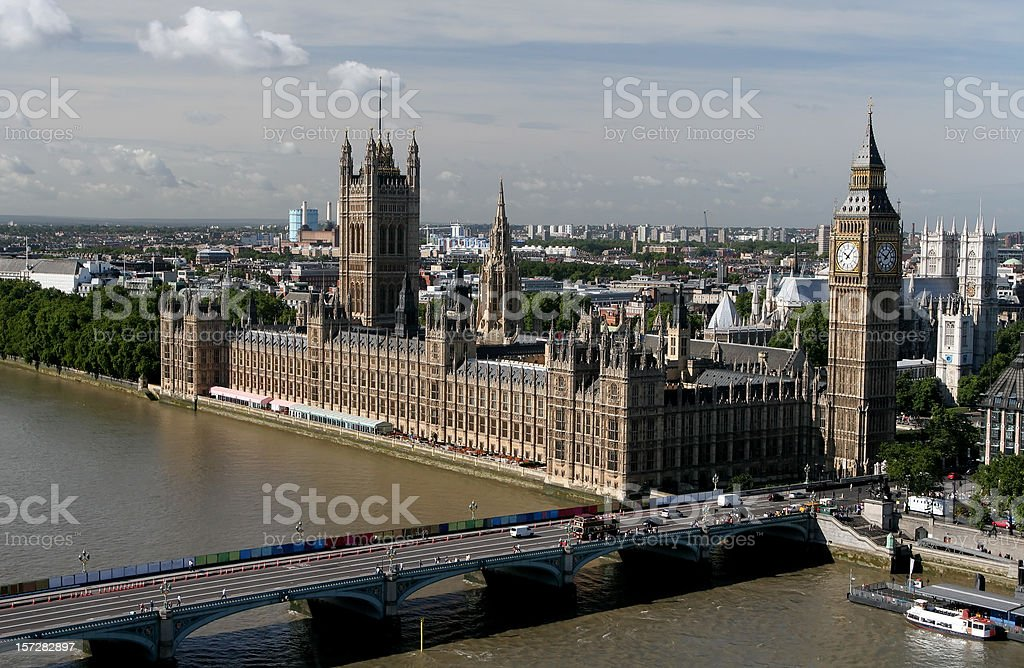 Aerial view of Parliament, London royalty-free stock photo
