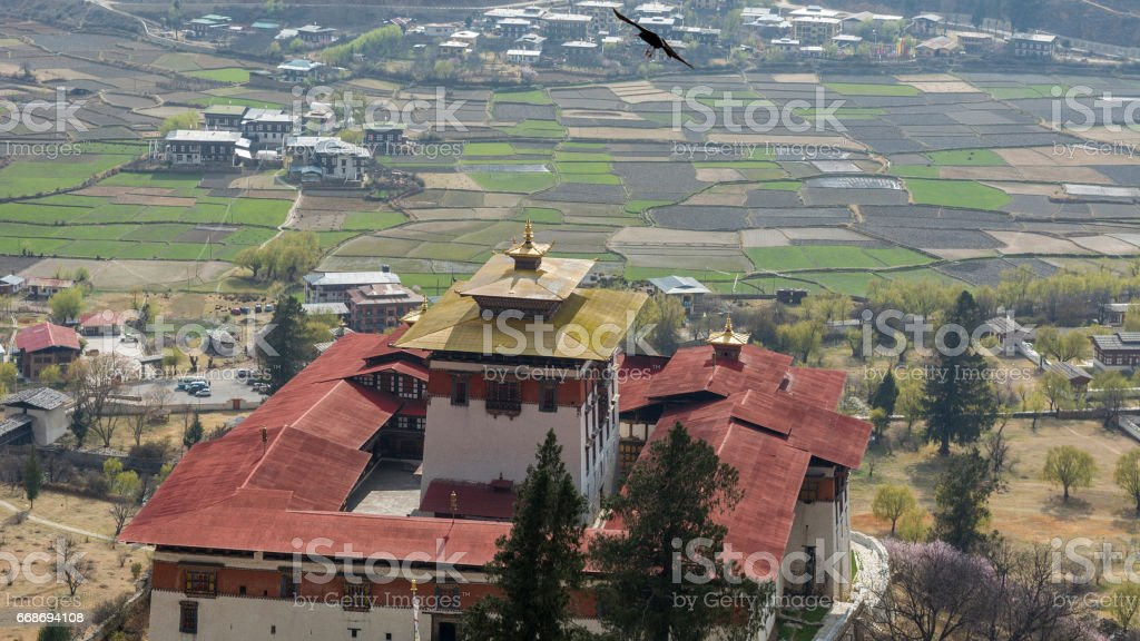 Aerial view of Paro Dzong stock photo