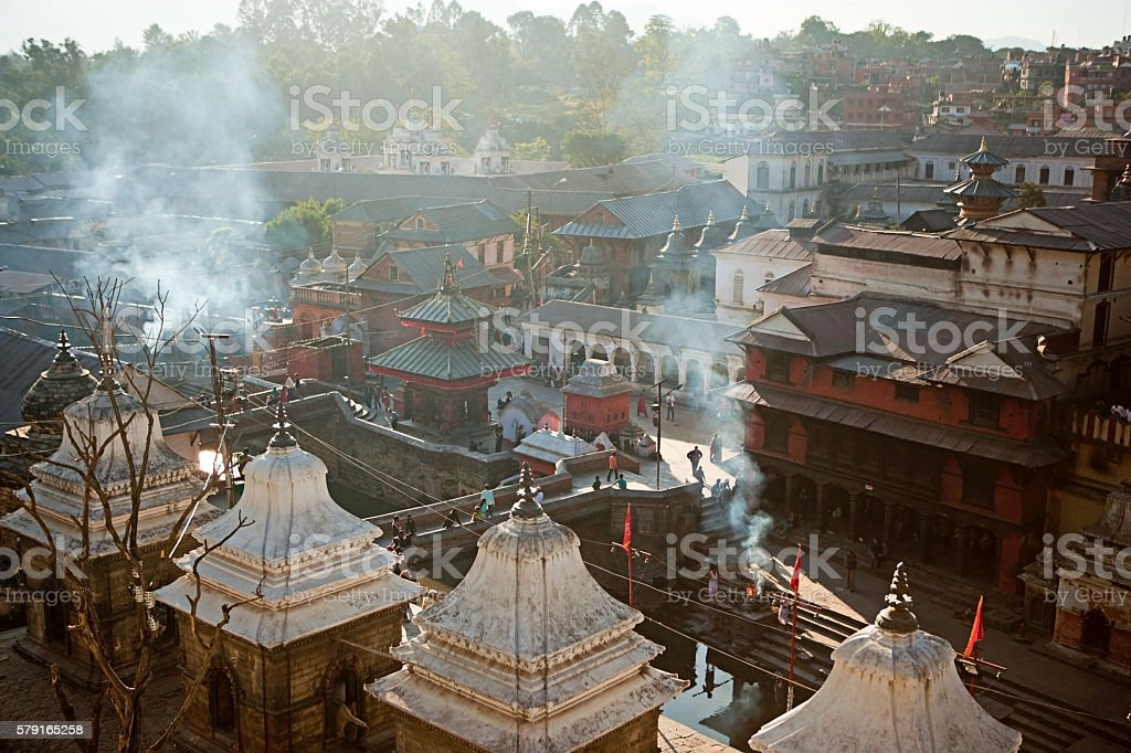 Aerial view of Pashupatinath Temple in Kathmandu stock photo