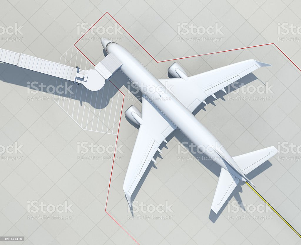 Aerial view of passenger airplane with boarding bridge at airport stock photo