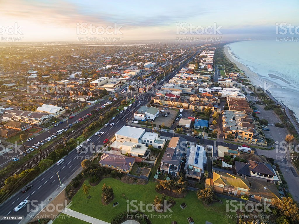 Aerial view of Patterson Lakes and Nepean Highway stock photo