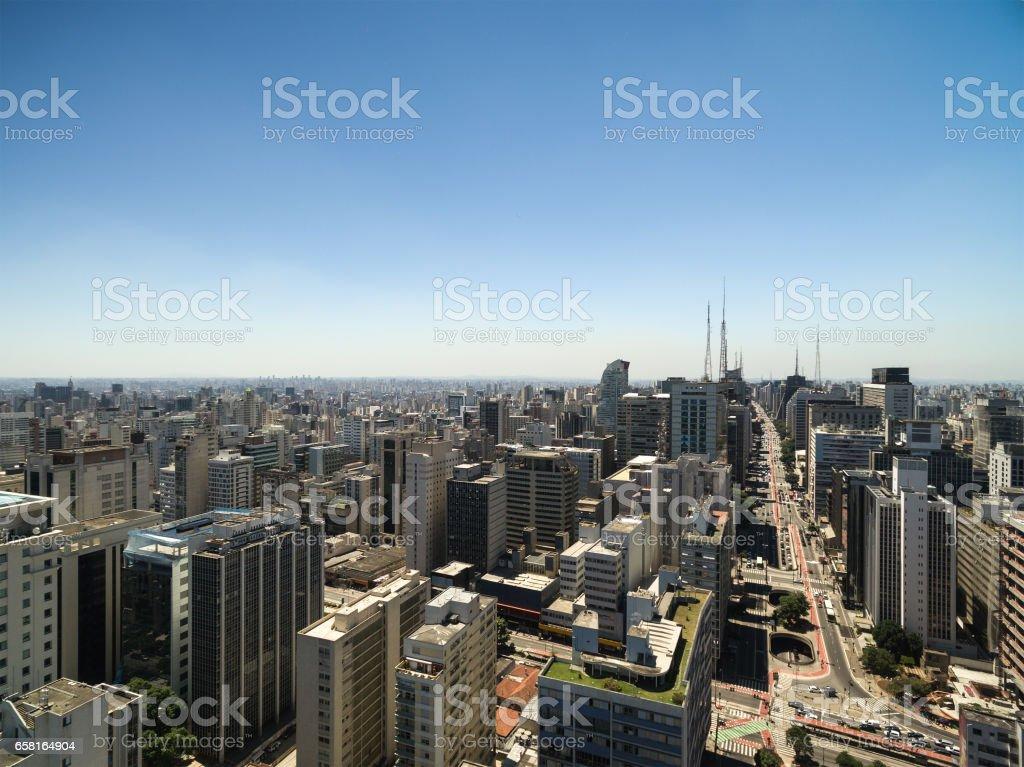 Aerial View of Paulista Avenue, Sao Paulo, Brazil stock photo