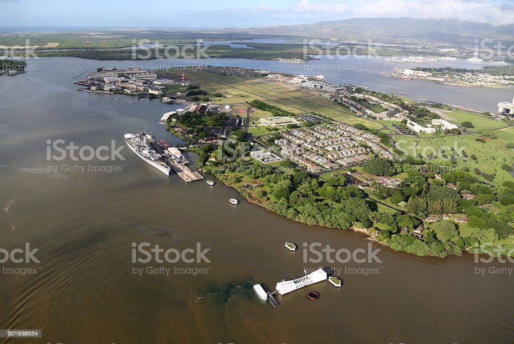 Aerial View of Pearl Harbor stock photo