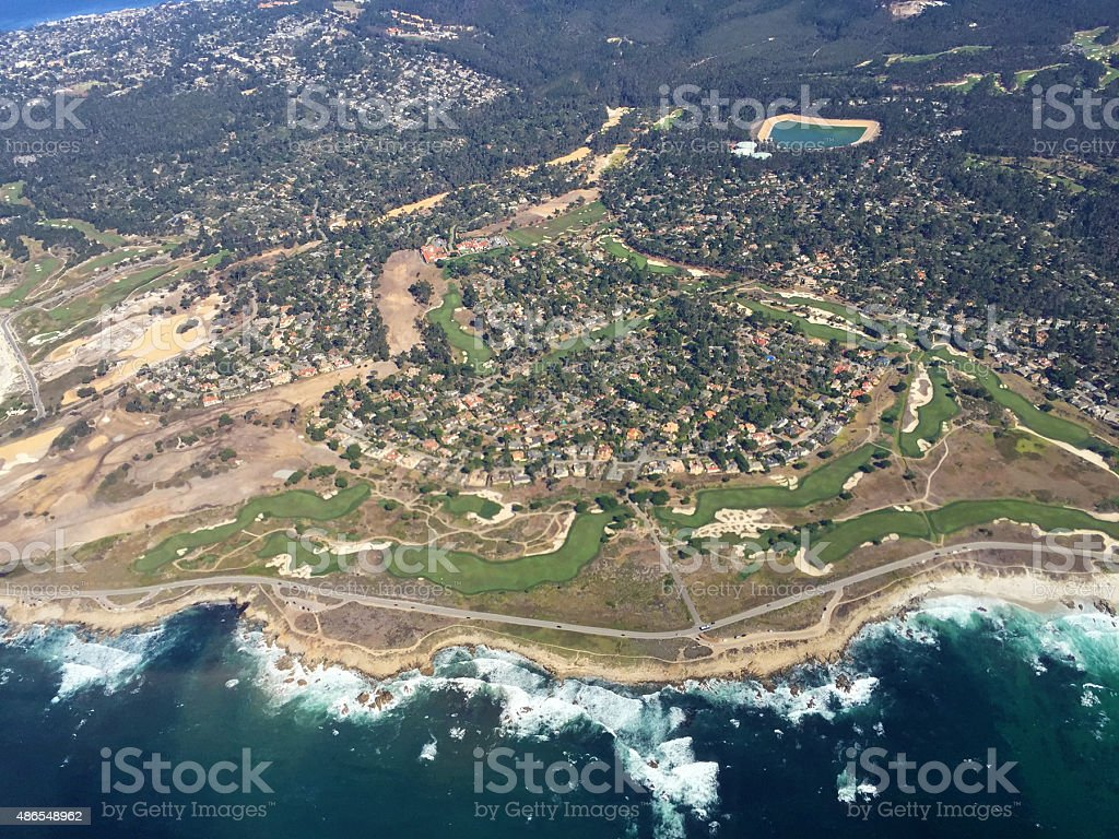 aerial view of Pebble Beach, California stock photo