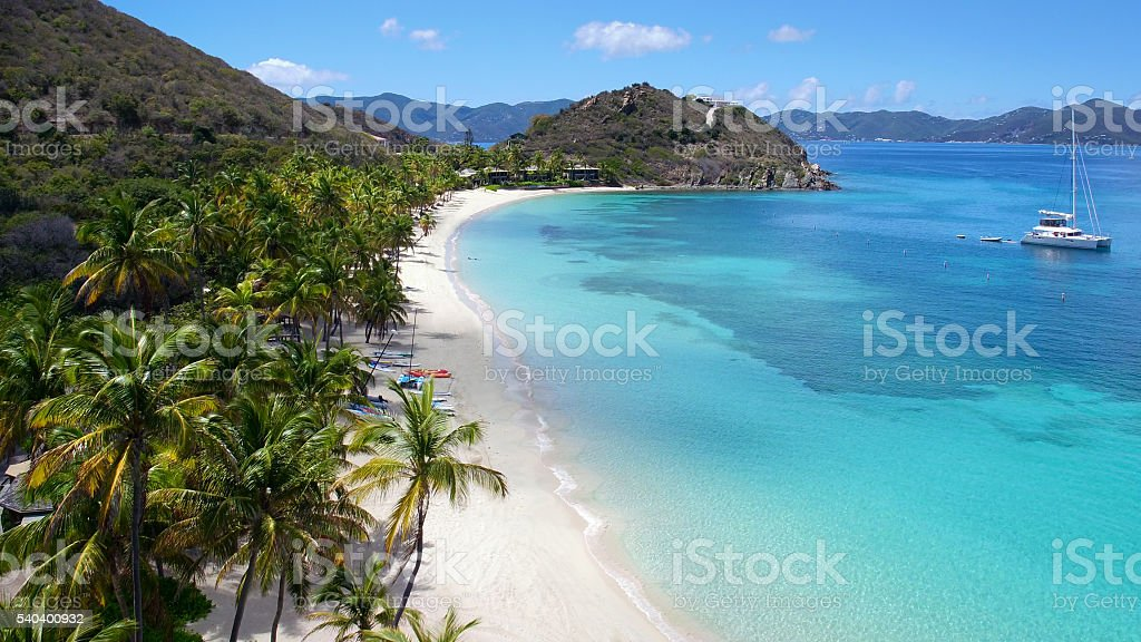 aerial view of peter island, British Virgin Islands stock photo