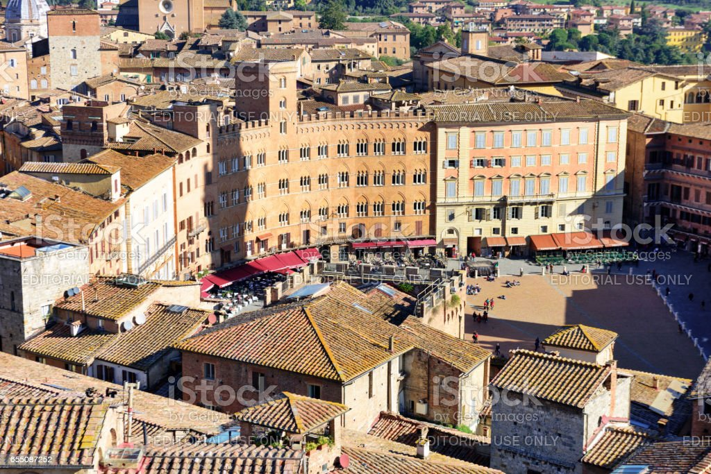 Aerial view of Piazza cel Campo, Siena stock photo