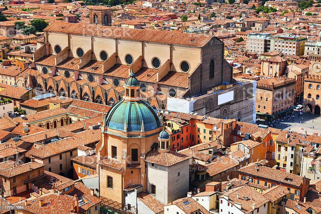 Aerial view of Piazza Maggiore and Basilica San Petrino stock photo