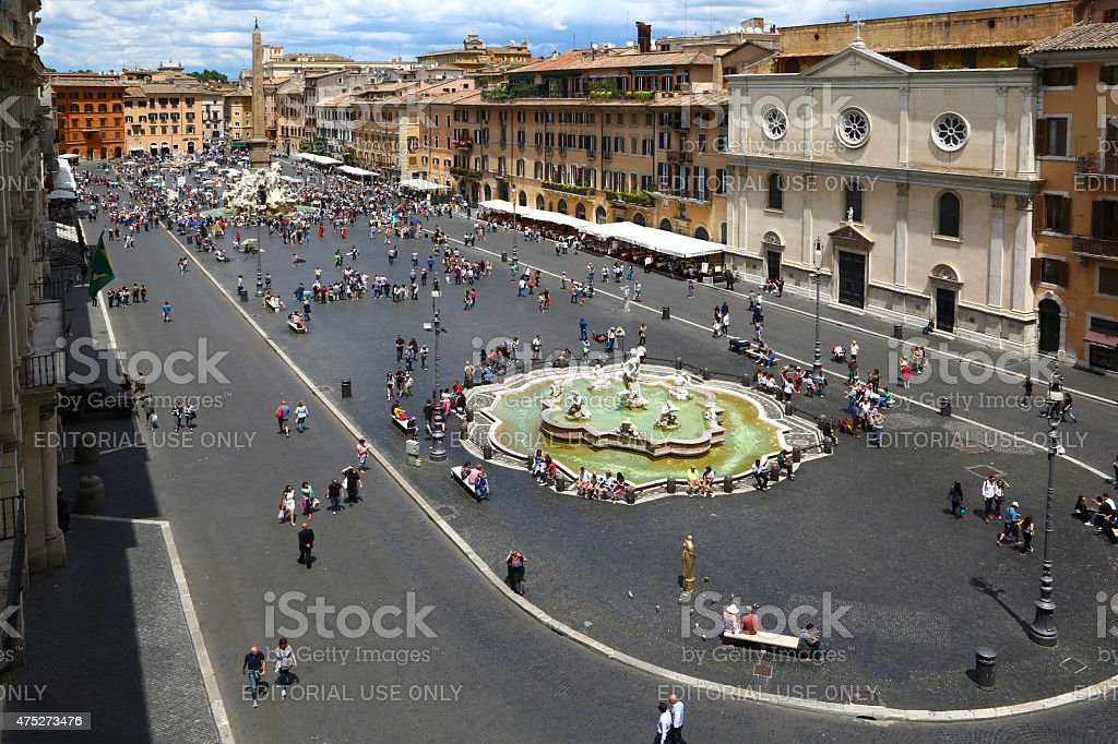 Aerial view of Piazza Navona in Rome stock photo