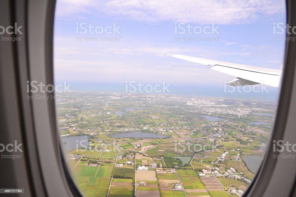 Aerial view of plain field, Taiwan stock photo